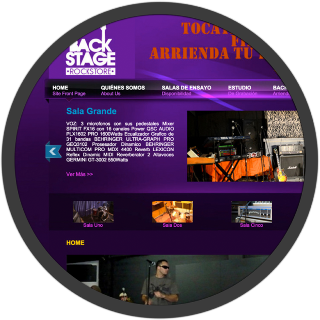 Backstage Website screenshot