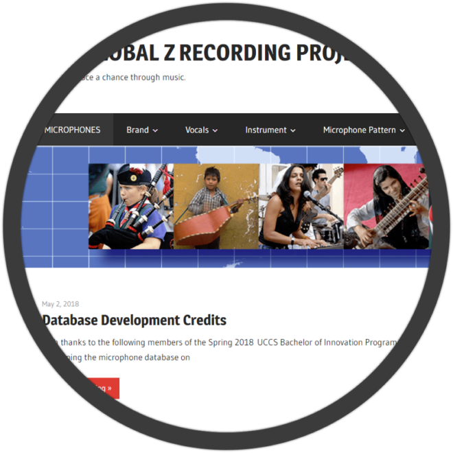 The Global Z Recording Project website screenshot